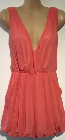 EVIE CORAL ORANGE CHIFFON WRAP PLAYSUIT SIZE UK 8